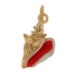 Pink Seashell Charm | Gold Seashell Charm | Pink Enameled Shell Charm