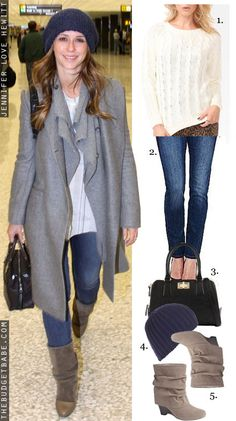 Dress by Number: Jennifer Love Hewitt's Gray Coat and Suede Boots - The Budget Babe
