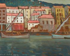 Albert H. Robinson - Old Harbour at Nice x Oil on board Oil, Landscape, Board, Artist, Painting, Painting Art, Landscape Paintings, Paintings, Painted Canvas