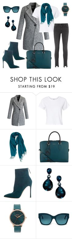 """""""Teal Obsession (#08)"""" by nazanin-mk ❤ liked on Polyvore featuring Chicwish, RE/DONE, Nordstrom, Burberry, Gianvito Rossi, Nixon, Tod's and Frame"""