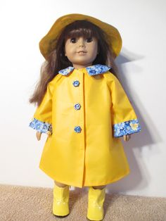 American Girl Doll Yellow Vinyl Raincoat with by CreativeThreadsNH