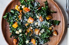 Northern Spy's Kale Salad   Note: sub pine nuts for almonds.  Perfect seasonal fall salad.  Great choice for dinner parties.