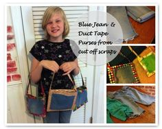 Blue jean and duct tape purse tutorial - Three uses for an outgrown pair of blue jeans
