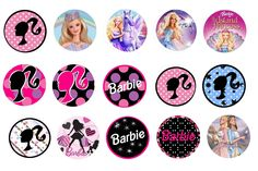 """Barbie 1"""" Bottle Cap images to use for making bottle caps for hair bows, jewelry, etc.  These images are my original designs and are not to be reproduced."""