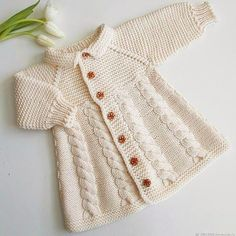 Knitted Coat jacket Vanilla – shop online on Livemaster with shipping – Baby knitting patterns Shrug Knitting Pattern, Baby Knitting Patterns, Knitting Designs, Baby Patterns, Knitted Baby Cardigan, Knitted Coat, Crochet Dress Girl, Crochet Baby, Baby Sweaters