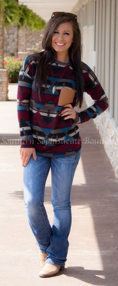 Leather Pocket Aztec Sweater @ Southern Sophisticate Boutique