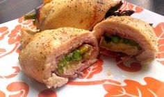 Baked Chicken Stuffed with Ham and Asparagus