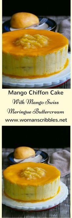 This delectable mango chiffon cake is a light and spongy vanilla chiffon, frosted and filled with Mango Swiss Meringue buttercream.