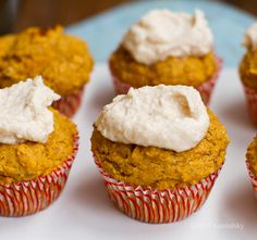 Vegan Pumpkin Muffins with Cinnamon Frosting. Made them without the icing, and used 1 egg. Good!