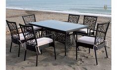 Comedor para terraza o jardín de Majestic Garden compuesto por una mesa rectangular y seis sillas.
