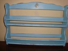 Cutest  Aqua Distressed Cottage Spice Rack Shelf by mushroommary, $20.00