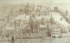 The Original Westminster Palace, with Westminster Abbey in the background
