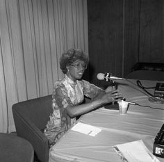 Congresswoman Shirley Chisholm, 1982. Shirley Anita St. Hill Chisholm (1924-2005) was the first African American woman elected to Congress. She represented New York's 12th Congressional District from 1969-1983. Harry Adams Collection. Institute for Arts and Media Photographs.