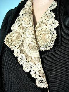 c. 1910 J. HARTJEN, 65 West 38th Street, New York City Edwardian Black Silk Faille Embellished Walking Coat with Ecru Battenberg Lace and Black Satin Trim!
