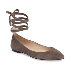 Women's Vince Camuto Bevian Flat (6,660 INR) ❤ liked on Polyvore featuring shoes, flats, storm cloud suede, ballet shoes, pointed-toe flats, strap ballet flats, pointy toe ballet flats and pointed toe ballet flats