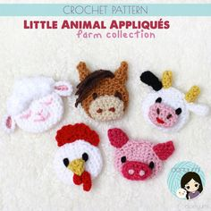 Little Animal Appliqués: Farm Collection Crochet Pattern ~ Lamb, Horse, Cow, Chicken and Pig Embellishments Crochet Flats, Crochet Motif, Crochet Flowers, Free Crochet, Crochet Appliques, Applique Patterns, Knitting Patterns, Crochet Patterns, Crochet Animals