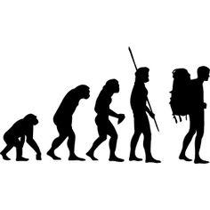 Evolution Backpacker - Die Evolution der Menschheit vom Affen �bern Neandertaler bis hin zum Rucksacktourist auch bekannt als Backpacker.