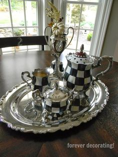 Silver plate tea set painted ala Mac Kenzie-Childs