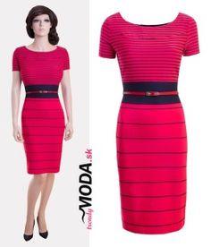 Trendy červené pruhované dámske šaty vhodné do práce, ale i na spoločenské udalosti -trendymoda.sk
