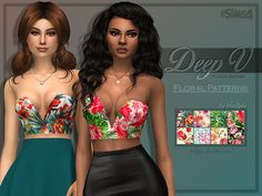 Lana CC Finds - Deep V Plunge Bustier - Floral Patterns