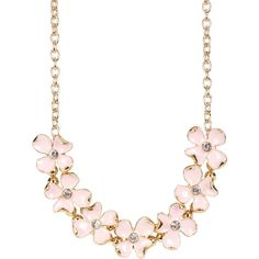 Carolee Statement Floral Frontal Necklace ($25) ❤ liked on Polyvore featuring jewelry, necklaces, gldpnkmlti, carolee jewelry, floral jewellery, cubic zirconia necklace, cz necklace and cz jewellery