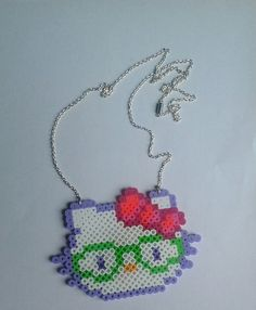 Nerdy glasses Hello Kitty perler bead necklace by accessorystyle