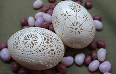 Two Hand Carved Victorian Lace Duck Eggs by theNestatWindyCorner, $85.00