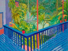 David Hockney: A bigger interior with terrace and garden, 2017 David Hockney Artwork, David Hockney Landscapes, David Hockney Prints, David Hockney Artist, David Hockney Photography, Landscape Art, Landscape Paintings, Pop Art Movement, Illustration Art