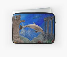 Laptop Sleeve,  unique,cool,fancy,beautiful,trendy,artistic,awesome,unusual,fashionable,accessories,gifts,presents,ideas,design,items,products,for sale,dolphin,wildlife,aqua,blue,redbubble