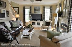 The Endearing Home family room black white neutral buffalocheck leather