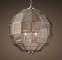 "Powder Alternate. Street Gas Lamp Pendant. 12"" diameter x 14.5"" high in Polished Nickel with clear glass."