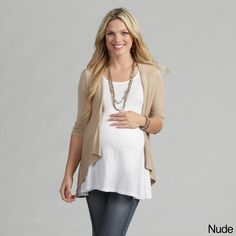 This modern maternity top from 24/7 Comfort Apparel features soft cotton construction for versatility and comfort. A cascading open front, asymmetrical hem and 3/4-length sleeves complete this stylish shrug.