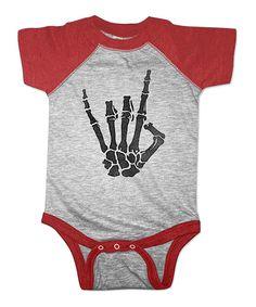 Look at this #zulilyfind! Heather Red Skeleton Bodysuit - Infant by American Classics #zulilyfinds
