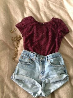 high-waisted shorts and lace shirt