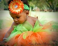Baby  Pumpkin Costume Tutu Halloween Portrait