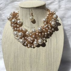 · Pearl Collar Necklace  · Gold Necklace