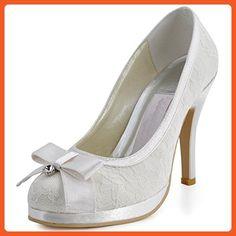 def713da7014 Belle House Women Pumps Round Toe Lace Satin Bridal Wedding Shoes - Pumps  for women (
