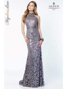 f035ce7f0ce Alyce 6786 sequin laced gown with a halter style neck and an open thick  strap back