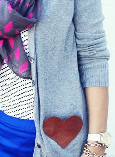 Cut out sweet heart pockets for your cardi. | 16 Ways To DIY Leather