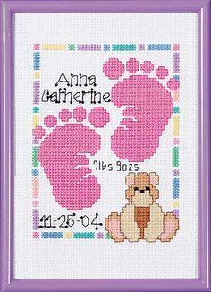 Baby Footprints Birth Announcement from Janlynn counted cross stitch kit. Baby Cross Stitch Patterns, Cross Stitch For Kids, Cross Stitch Baby, Counted Cross Stitch Kits, Cross Stitch Charts, Cross Stitch Designs, Cross Stitching, Cross Stitch Embroidery, Baby Footprints