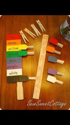 DIY color matching activity for preschoolers or autism therapy--paint chips, paint stick, and clothes pins learning colors Autism Activities, Preschool Learning, Educational Activities, Fun Learning, Preschool Activities, Preschool Kindergarten, Aba Therapy Activities, Autism Preschool, Special Education Activities