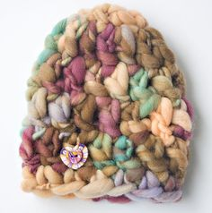 Thick Thin Hat-Merino Wool with Polymer Clay by TresBelleKnits