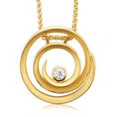 Wish List #160-8 18k yellow gold and Diamond swirl necklace by Barbara Heinrich at Spectrum Art & Jewelry