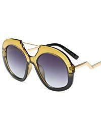 5ef17b092a Feicuan Gafas de sol Grandes Redondas Twin-Beams lentes para Mujer Gafas de sol  mujer