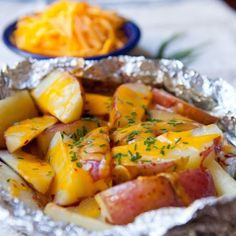 Cheesy Grilled Potato Packets    #easy #cheese #veg #sides