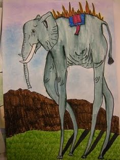 Dali Elephants-Surrealist Art Lesson. Have books for students to look through of different animals to draw out of proportion.