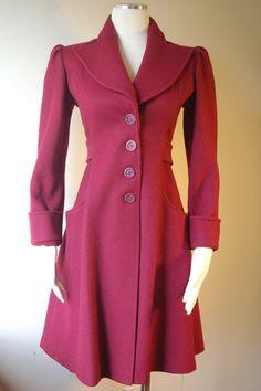 Vintage Eastland Fabric Burgundy Wool Long by misbehavinvintage, $125.00