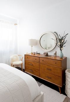 Our Mid-Century Dresser seen on Dwell's 'How to Design an Apartment You and Your Roommate Love'.