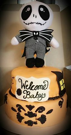 Nightmare Before Christmas Themed Baby Shower Cake  #heavenlyflourcakesandcatering