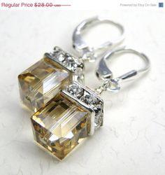 Champagne Crystal Earrings, Yellow, Silver, Swarovski, Bridesmaid, Bridal, Wedding, Handmade Jewelry, Spring Fashion, ChristmasInJuly